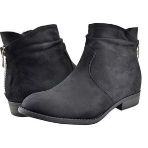Black Faux Suede Ankle Booties Zipper Moto Combat